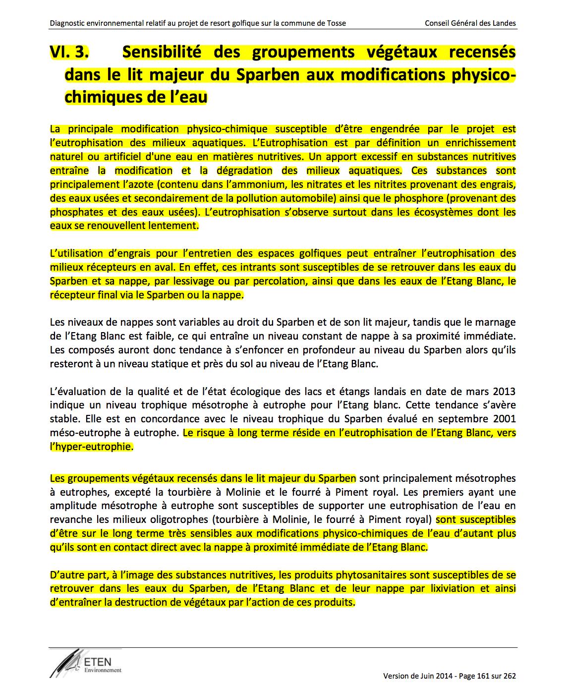 page 161 Diagnostic environnemental Golf de Tosse Juin 2014