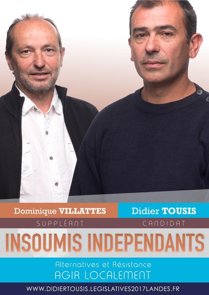 Didier Tousis - Dominique Villattes - Candidature aux législatives 2017 dans les Landes