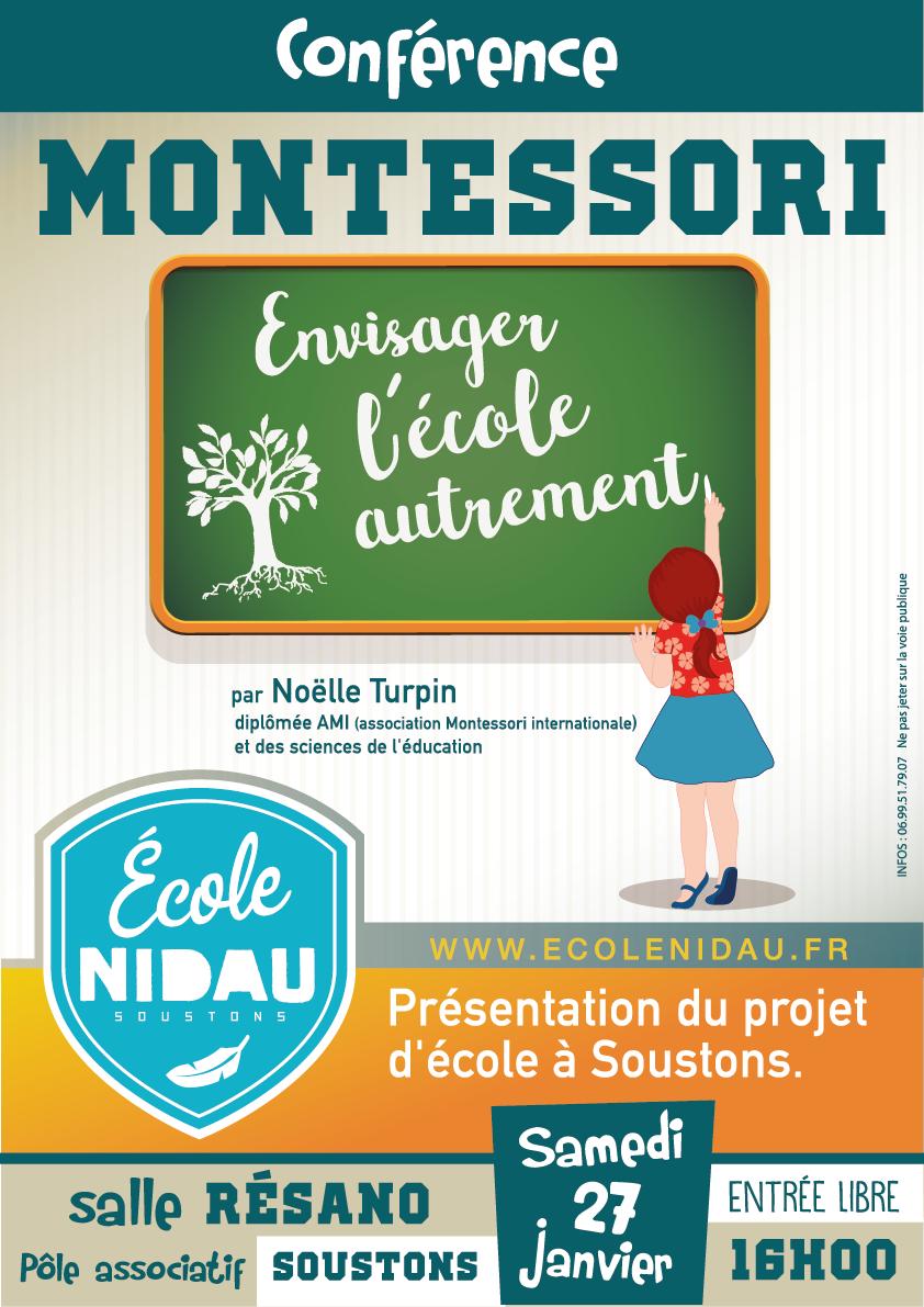 Ècole Nidau - affiche conférence MONTESSORI