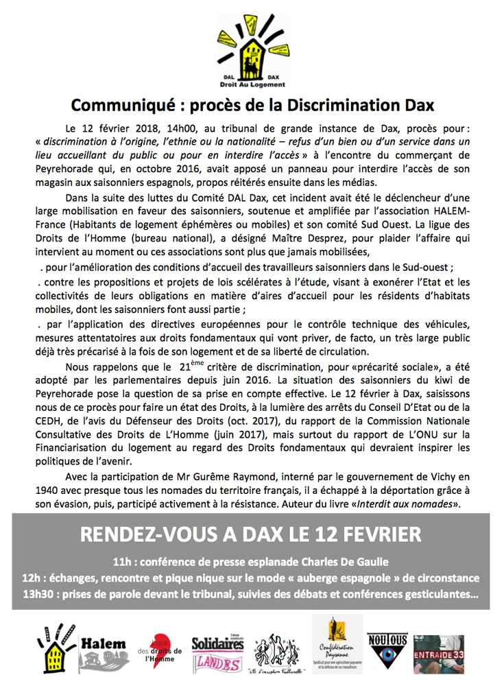 COMMUNIQUE Proces dicrimination DAX
