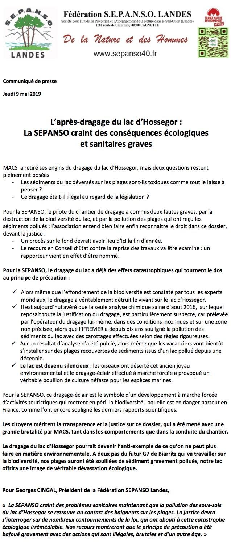 Communiqué de pressede la SEPANSO du 9 mais 2019