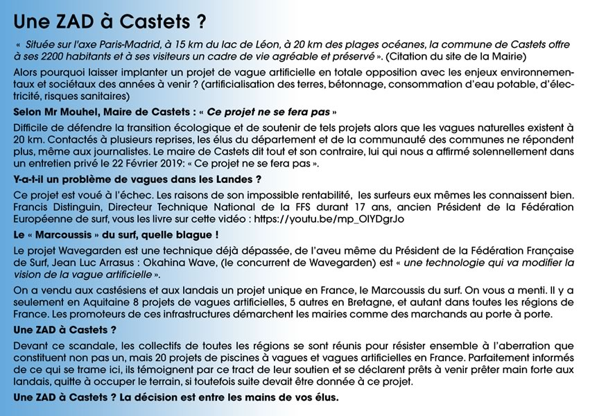Tract vague artificielle Castets